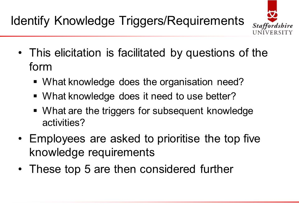 Identify Knowledge Triggers/Requirements This elicitation is facilitated by questions of the form  What knowledge does the organisation need.