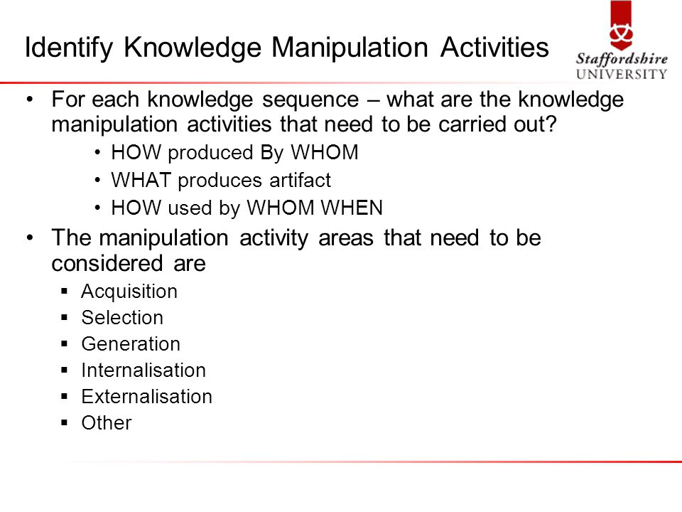 Identify Knowledge Manipulation Activities For each knowledge sequence – what are the knowledge manipulation activities that need to be carried out.