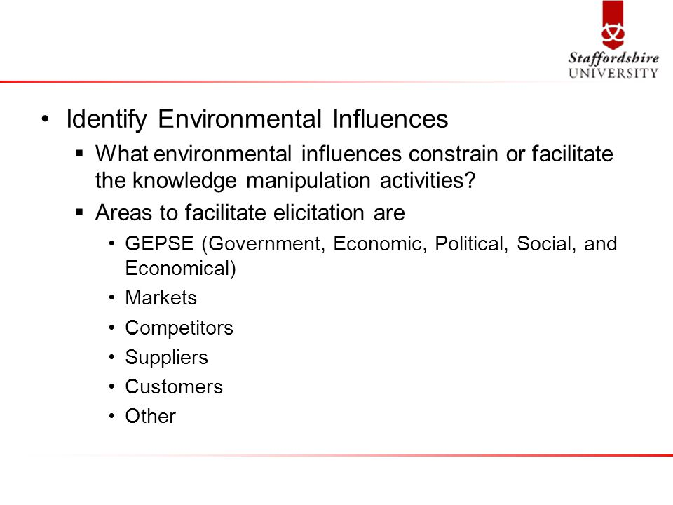 Identify Environmental Influences  What environmental influences constrain or facilitate the knowledge manipulation activities.