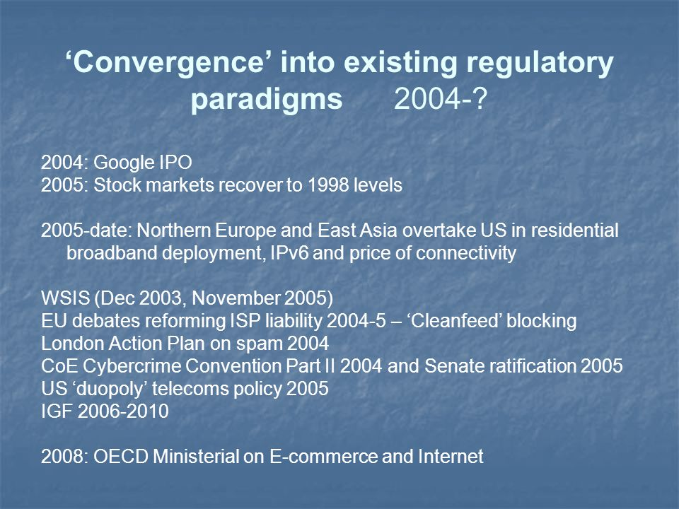 'Convergence' into existing regulatory paradigms 2004-.