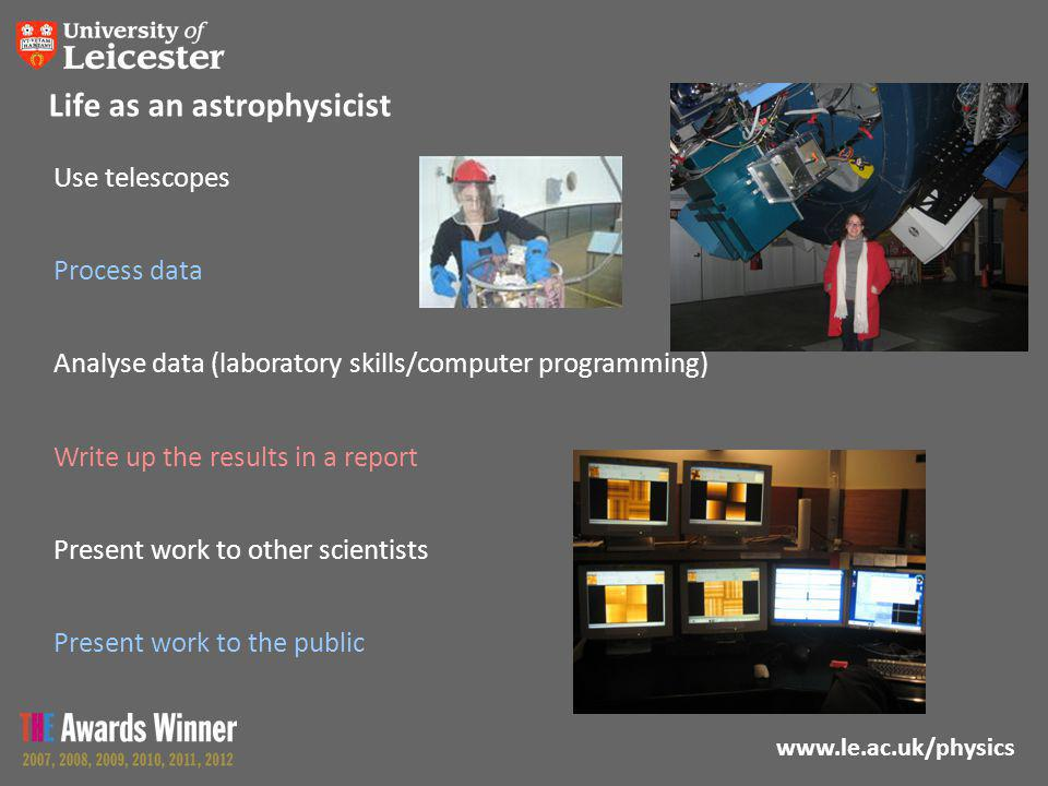 www.le.ac.uk/physics Life as an astrophysicist Use telescopes Process data Analyse data (laboratory skills/computer programming) Write up the results in a report Present work to other scientists Present work to the public