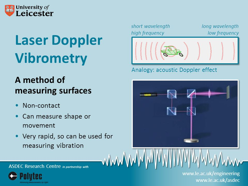 www.le.ac.uk/engineering www.le.ac.uk/asdec ASDEC Research Centre in partnership with Laser Doppler Vibrometry A method of measuring surfaces Non-contact Can measure shape or movement Very rapid, so can be used for measuring vibration Analogy: acoustic Doppler effect long wavelength low frequency short wavelength high frequency