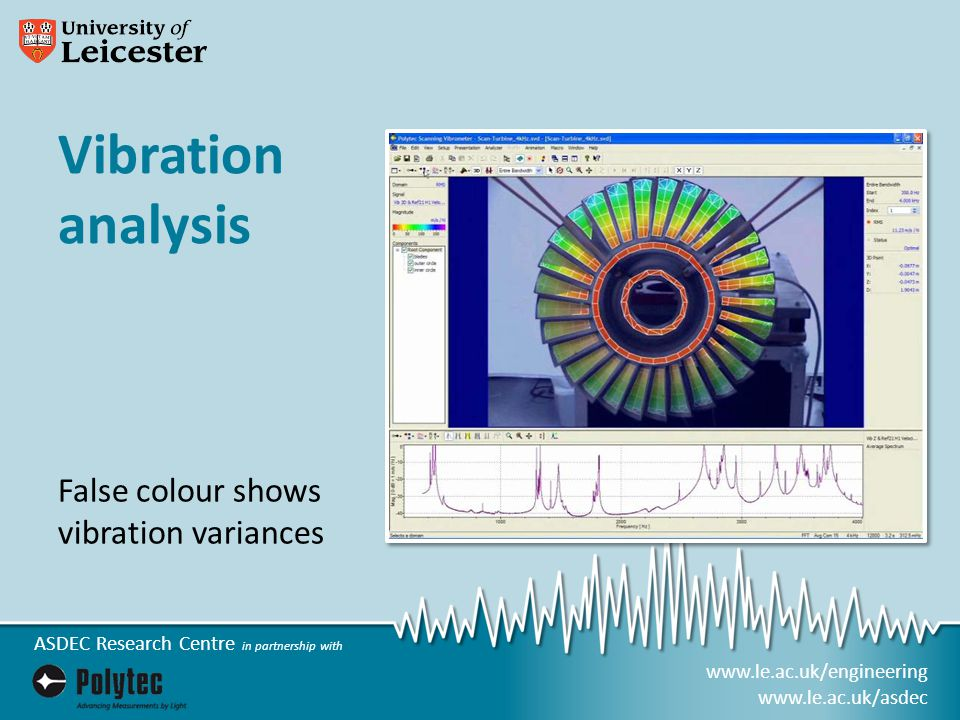 www.le.ac.uk/engineering www.le.ac.uk/asdec ASDEC Research Centre in partnership with Vibration analysis False colour shows vibration variances
