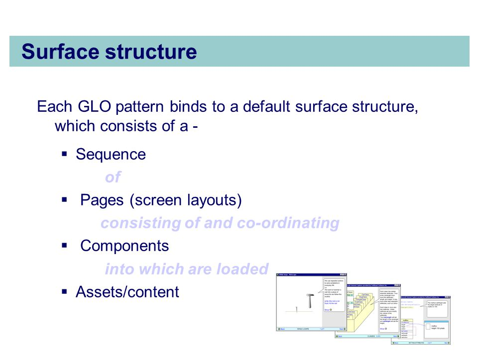 Surface structure Each GLO pattern binds to a default surface structure, which consists of a -  Sequence of  Pages (screen layouts) consisting of and co-ordinating  Components into which are loaded  Assets/content