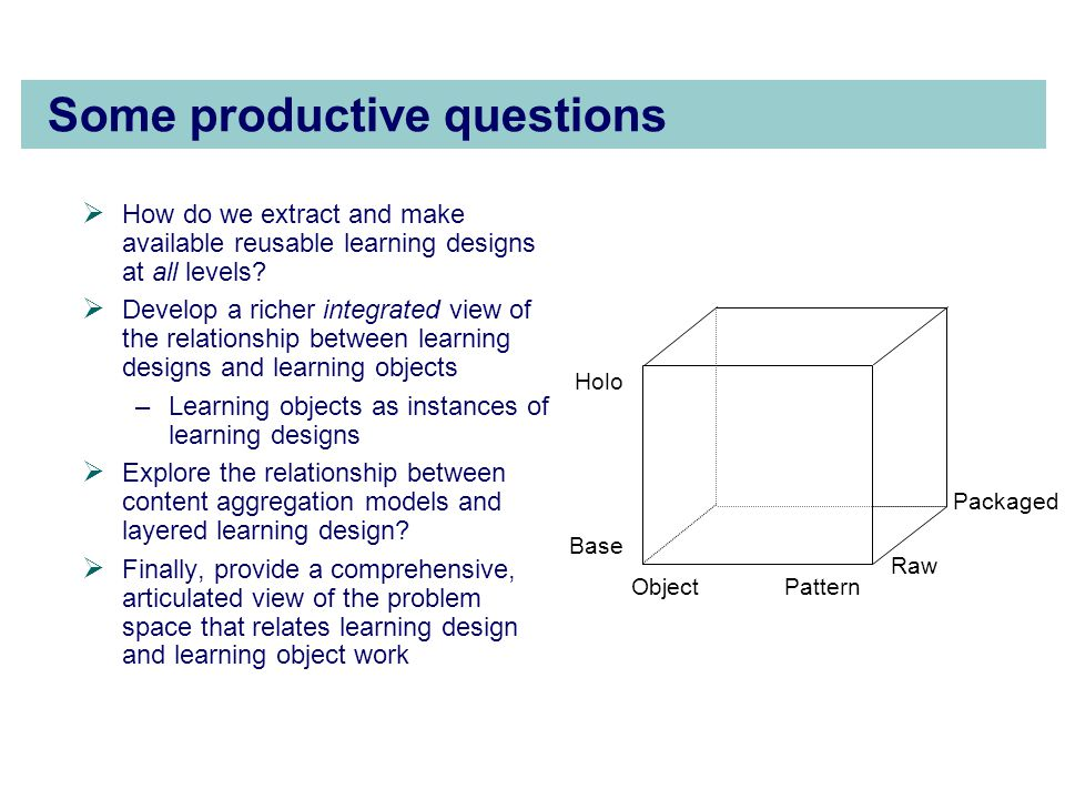 Some productive questions  How do we extract and make available reusable learning designs at all levels.