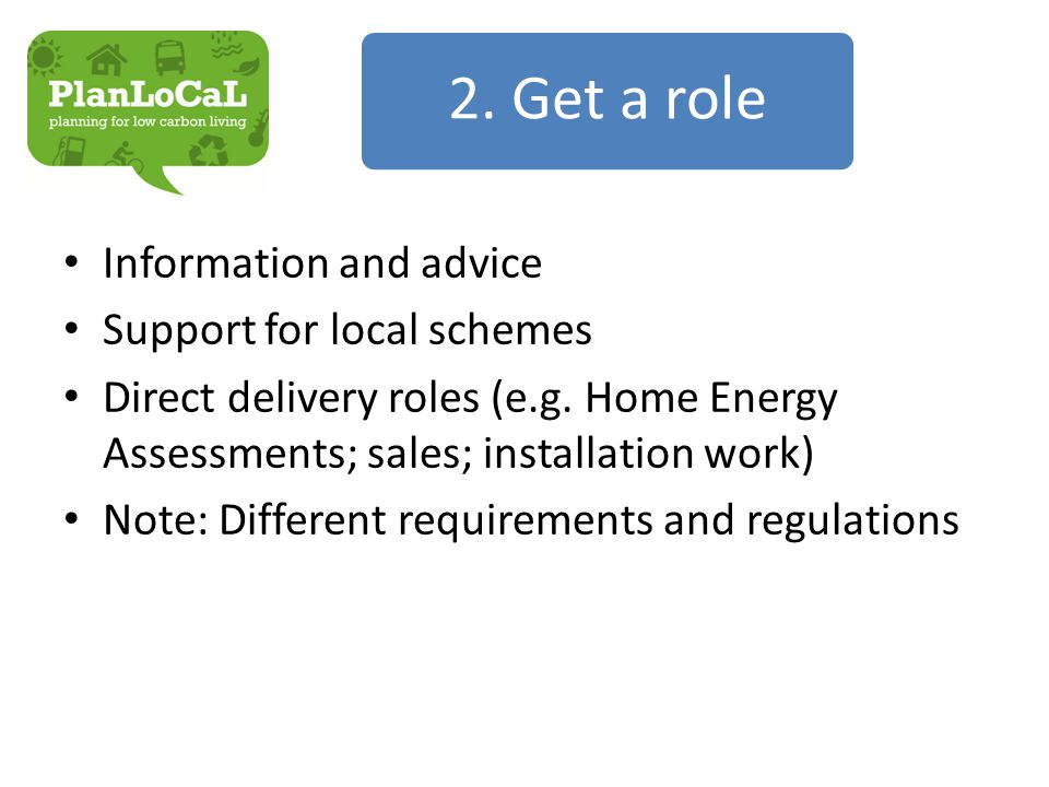 Information and advice Support for local schemes Direct delivery roles (e.g.