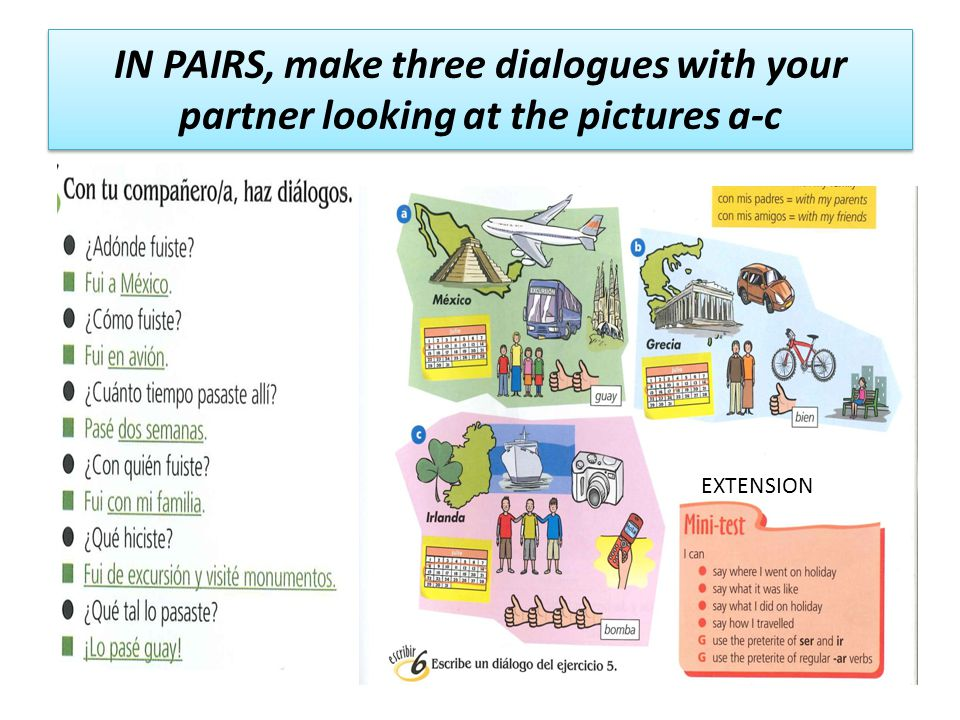 IN PAIRS, make three dialogues with your partner looking at the pictures a-c EXTENSION