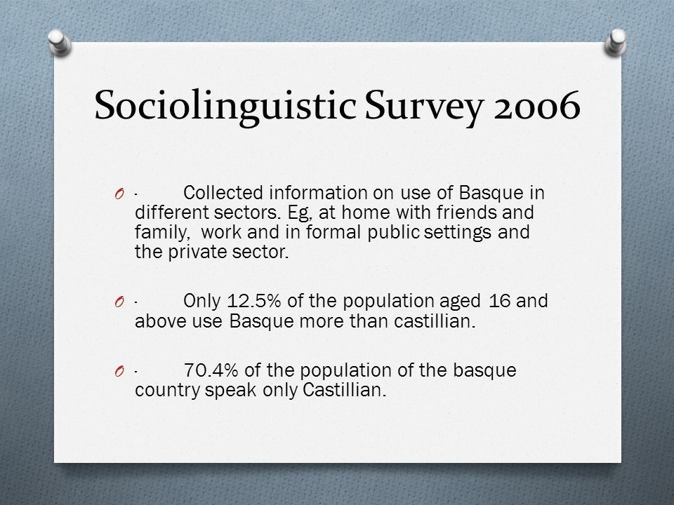 Sociolinguistic Survey 2006 O · Collected information on use of Basque in different sectors.