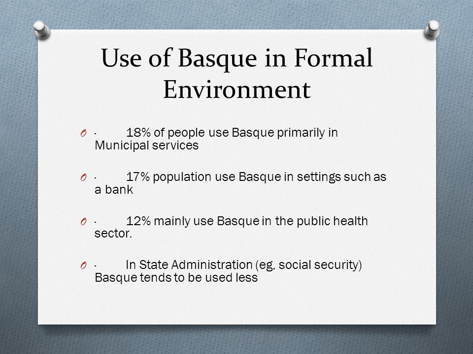 Use of Basque in Formal Environment O · 18% of people use Basque primarily in Municipal services O · 17% population use Basque in settings such as a bank O · 12% mainly use Basque in the public health sector.