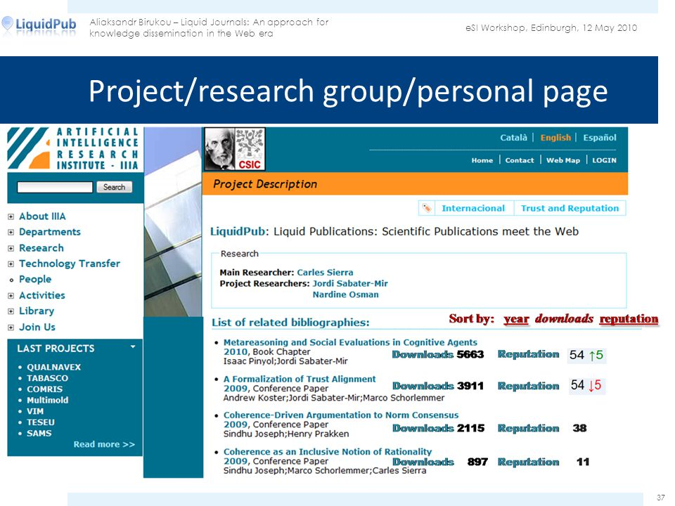 Project/research group/personal page eSI Workshop, Edinburgh, 12 May 2010 Aliaksandr Birukou – Liquid Journals: An approach for knowledge dissemination in the Web era 37