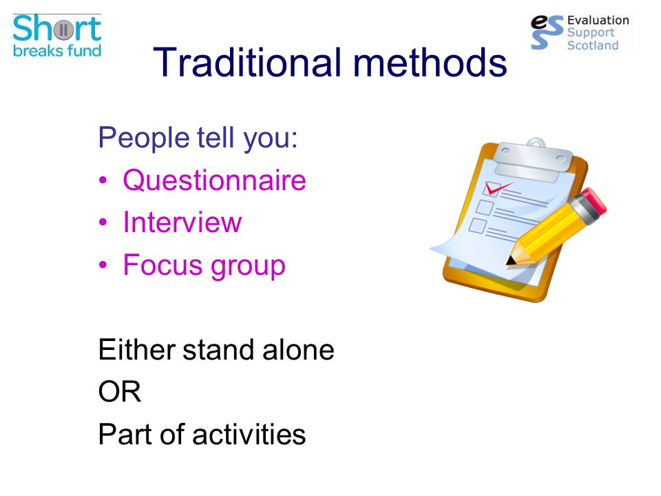 Traditional methods People tell you: Questionnaire Interview Focus group Either stand alone OR Part of activities
