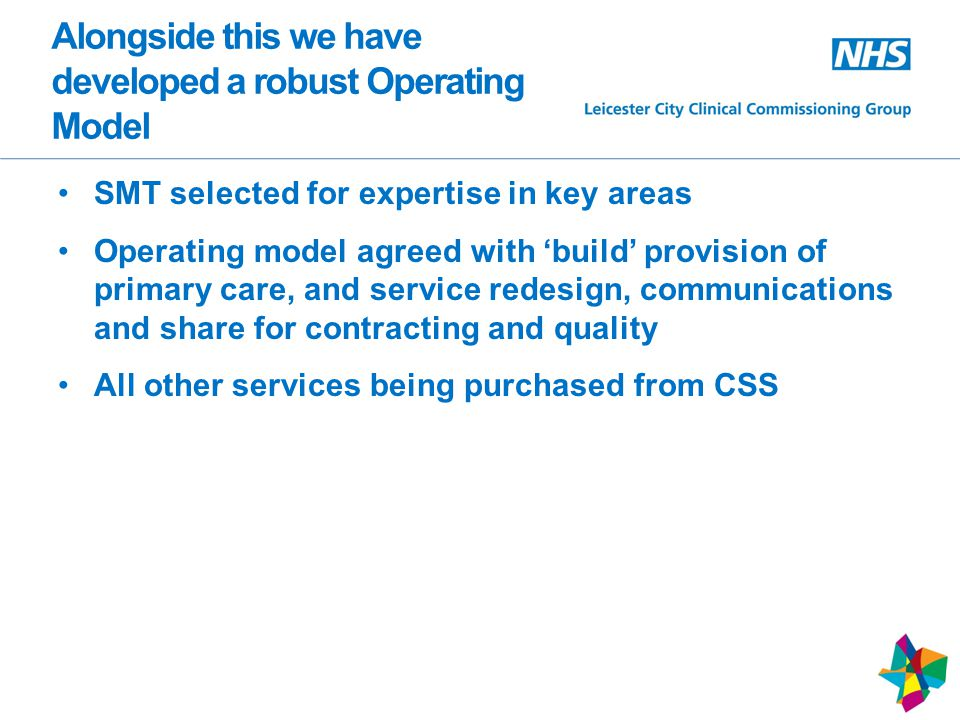 Alongside this we have developed a robust Operating Model SMT selected for expertise in key areas Operating model agreed with 'build' provision of primary care, and service redesign, communications and share for contracting and quality All other services being purchased from CSS 10