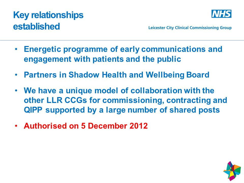 Key relationships established Energetic programme of early communications and engagement with patients and the public Partners in Shadow Health and Wellbeing Board We have a unique model of collaboration with the other LLR CCGs for commissioning, contracting and QIPP supported by a large number of shared posts Authorised on 5 December 2012 7