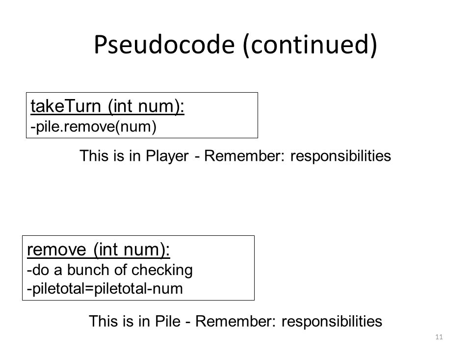 Pseudocode (continued) 11 This is in Player - Remember: responsibilities takeTurn (int num): -pile.remove(num) remove (int num): -do a bunch of checking -piletotal=piletotal-num This is in Pile - Remember: responsibilities