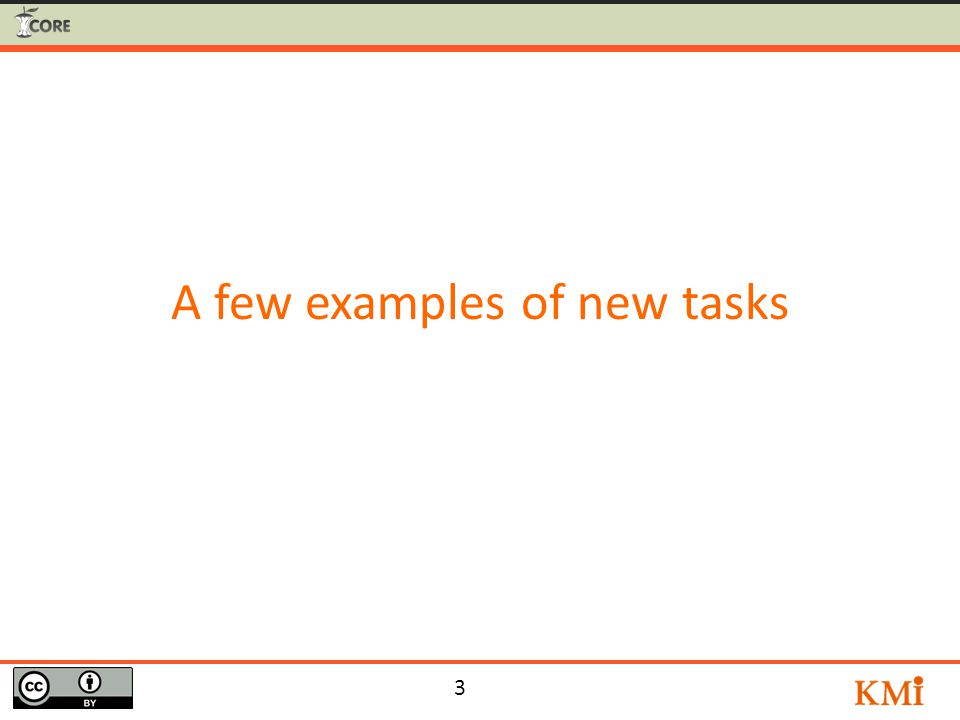 3 A few examples of new tasks