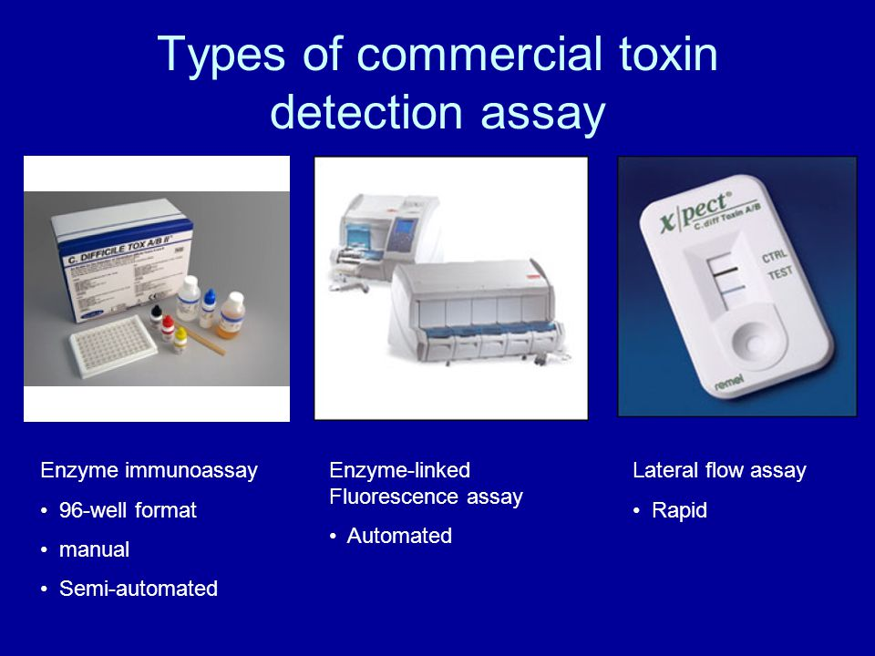 Types of commercial toxin detection assay Enzyme immunoassay 96-well format manual Semi-automated Enzyme-linked Fluorescence assay Automated Lateral flow assay Rapid
