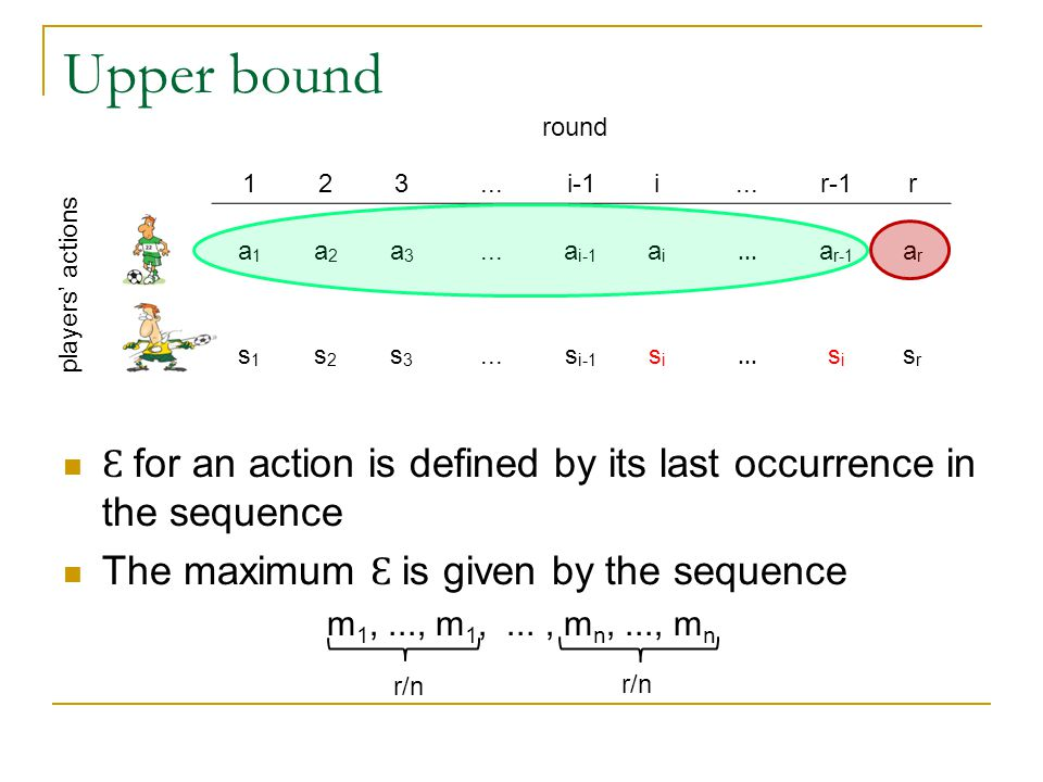 Upper bound Ɛ for an action is defined by its last occurrence in the sequence The maximum Ɛ is given by the sequence m 1,..., m 1,..., m n,..., m n round players' actions 123...i-1i...r-1r a1a1 a2a2 a3a3...a i-1 aiai...