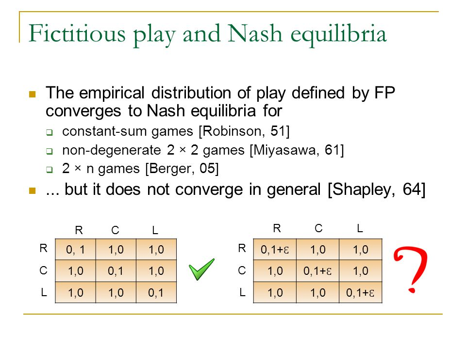 Fictitious play and Nash equilibria The empirical distribution of play defined by FP converges to Nash equilibria for  constant-sum games [Robinson, 51]  non-degenerate 2 × 2 games [Miyasawa, 61]  2 × n games [Berger, 05]...