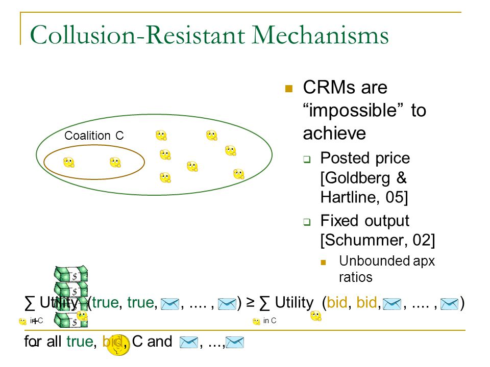 Collusion-Resistant Mechanisms CRMs are impossible to achieve  Posted price [Goldberg & Hartline, 05]  Fixed output [Schummer, 02] Unbounded apx ratios Coalition C + – ∑ Utility (true, true,,...., ) ≥ ∑ Utility (bid, bid,,...., ) for all true, bid, C and,..., in C
