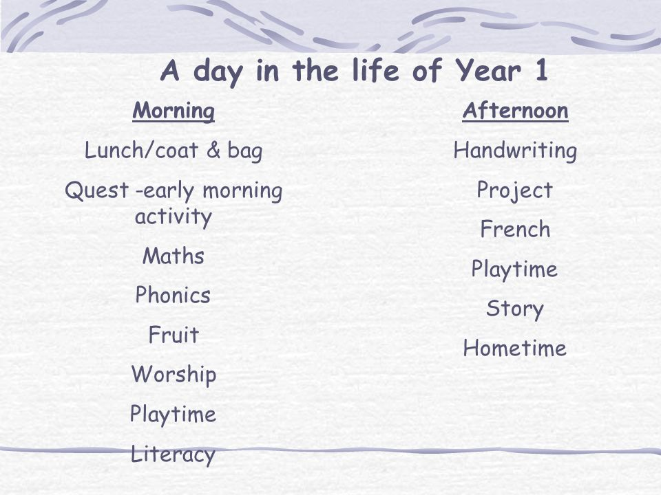 A day in the life of Year 1 Morning Lunch/coat & bag Quest -early morning activity Maths Phonics Fruit Worship Playtime Literacy Afternoon Handwriting Project French Playtime Story Hometime