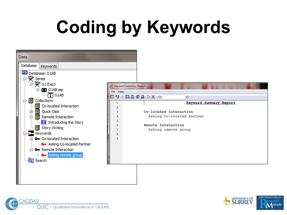 Coding by Keywords