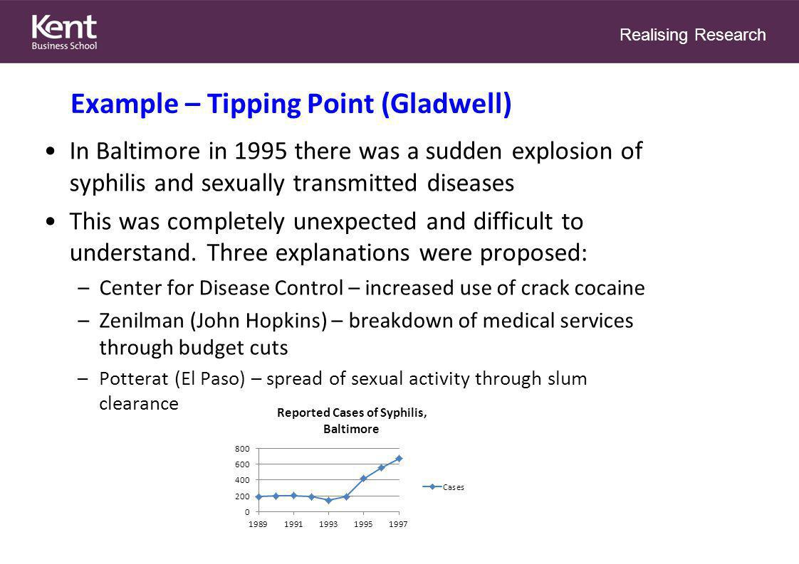 Realising Research Example – Tipping Point (Gladwell) In Baltimore in 1995 there was a sudden explosion of syphilis and sexually transmitted diseases This was completely unexpected and difficult to understand.
