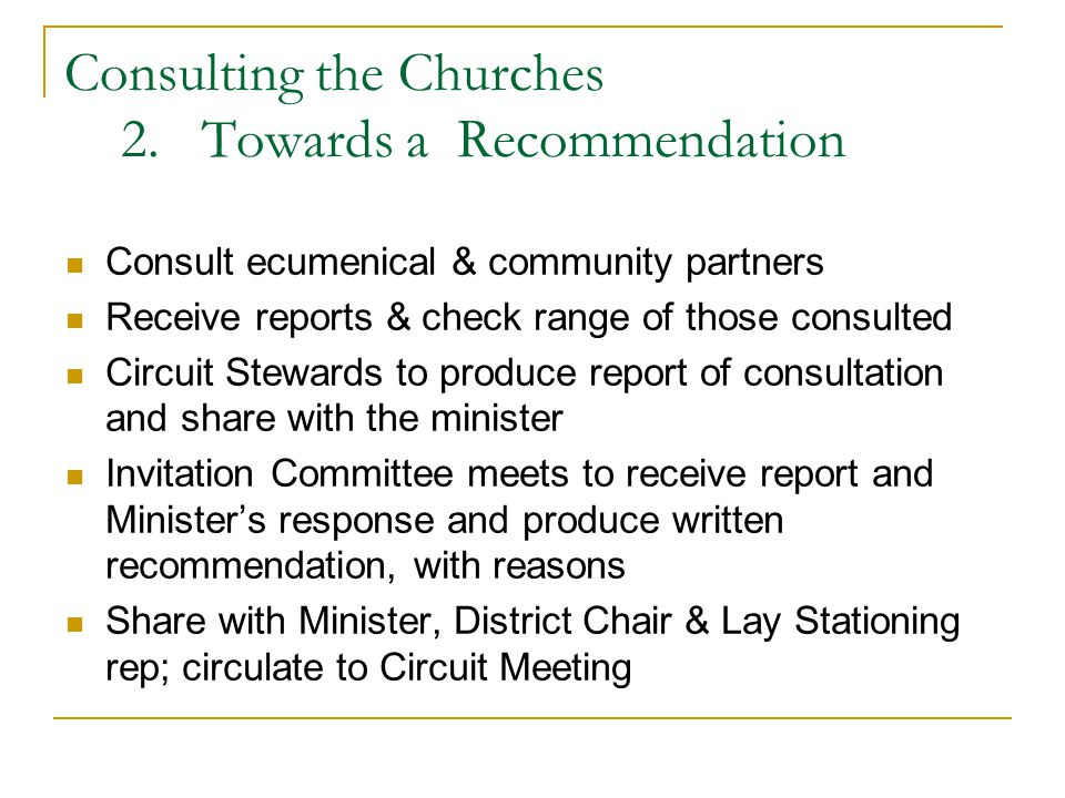 Consulting the Churches 2.
