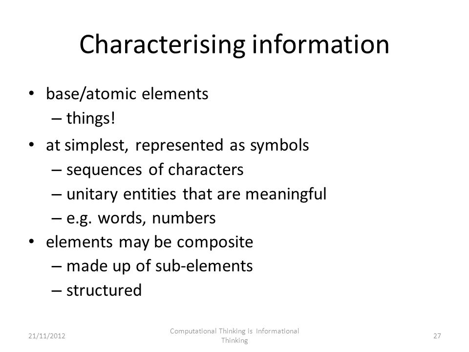 Characterising information base/atomic elements – things.