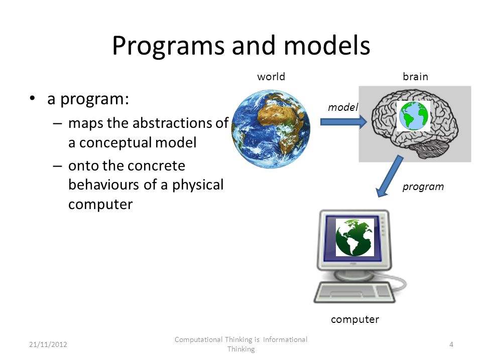 Programs and models a program: – maps the abstractions of a conceptual model – onto the concrete behaviours of a physical computer model program worldbrain computer 4 Computational Thinking is Informational Thinking 21/11/2012
