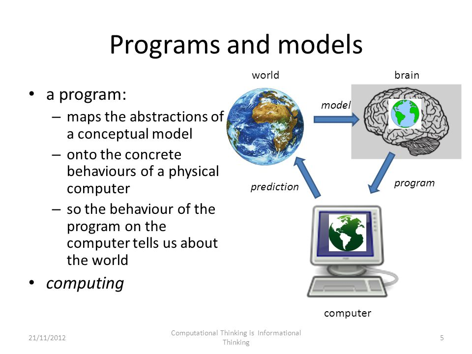 Programs and models a program: – maps the abstractions of a conceptual model – onto the concrete behaviours of a physical computer – so the behaviour of the program on the computer tells us about the world computing model program prediction worldbrain computer 5 Computational Thinking is Informational Thinking 21/11/2012