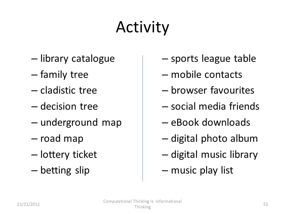 Activity – library catalogue – family tree – cladistic tree – decision tree – underground map – road map – lottery ticket – betting slip – sports league table – mobile contacts – browser favourites – social media friends – eBook downloads – digital photo album – digital music library – music play list 21/11/2012 Computational Thinking is Informational Thinking 51
