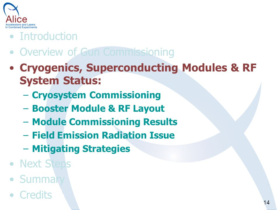 14 Introduction Overview of Gun Commissioning Cryogenics, Superconducting Modules & RF System Status: –Cryosystem Commissioning –Booster Module & RF Layout –Module Commissioning Results –Field Emission Radiation Issue –Mitigating Strategies Next Steps Summary Credits