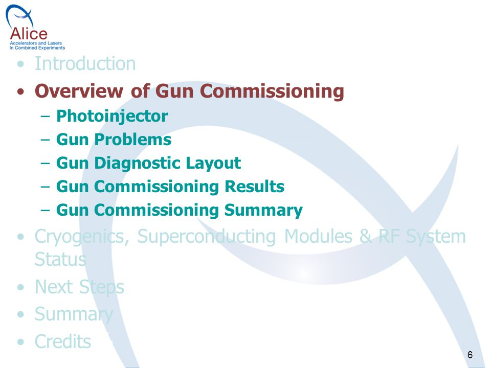 6 Introduction Overview of Gun Commissioning –Photoinjector –Gun Problems –Gun Diagnostic Layout –Gun Commissioning Results –Gun Commissioning Summary Cryogenics, Superconducting Modules & RF System Status Next Steps Summary Credits