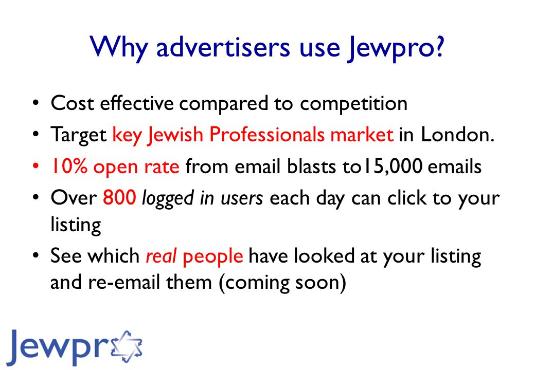 Why advertisers use Jewpro.