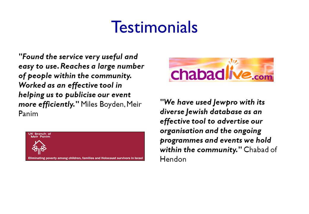 Testimonials Found the service very useful and easy to use.