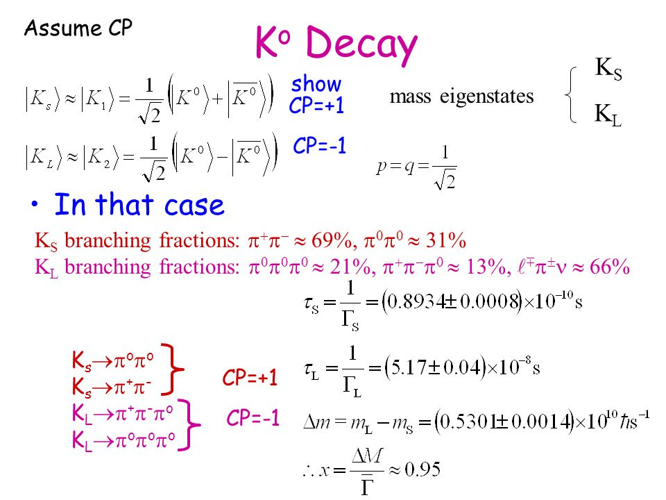 K o Decay In that case CP=+1 CP=-1 K s  o  o K s  +  - K L  +  -  o K L  o  o  o CP=+1 CP=-1 K S branching fractions:      69%,      31% K L branching fractions:        21%,        13%,     66% mass eigenstates KSKS KLKL show Assume CP