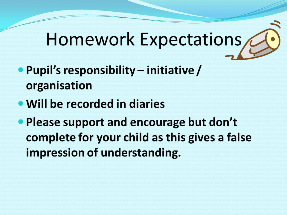 Homework Expectations Pupil's responsibility – initiative / organisation Will be recorded in diaries Please support and encourage but don't complete for your child as this gives a false impression of understanding.