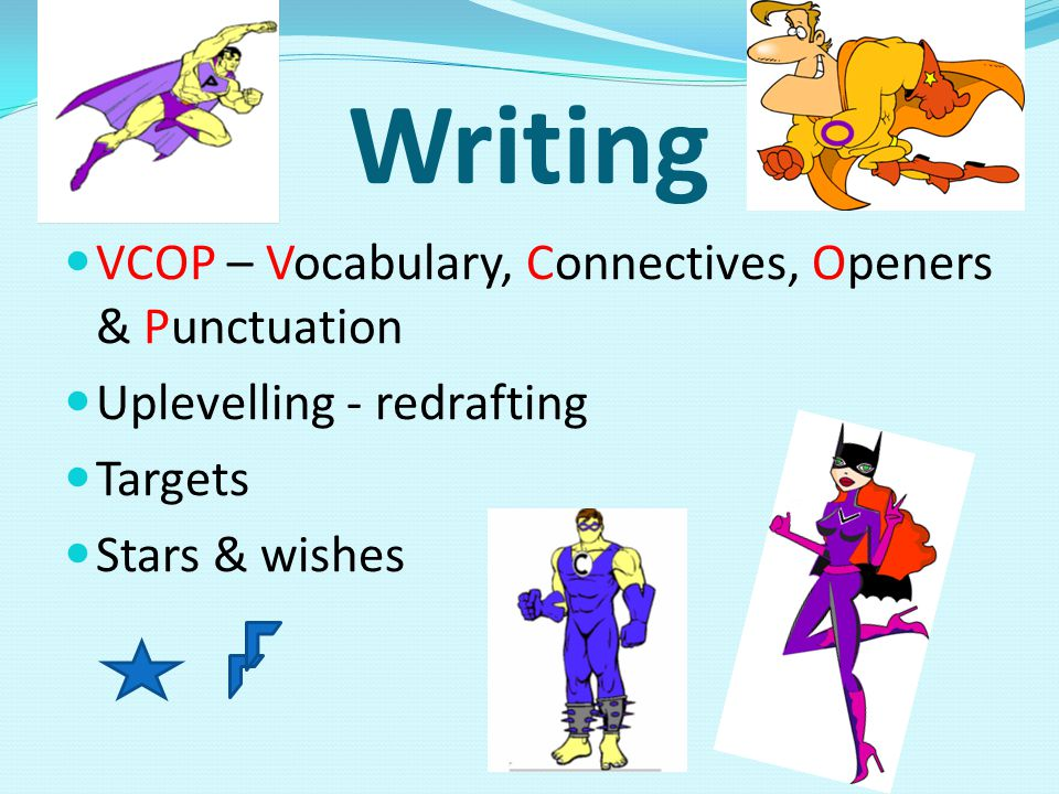 Writing VCOP – Vocabulary, Connectives, Openers & Punctuation Uplevelling - redrafting Targets Stars & wishes