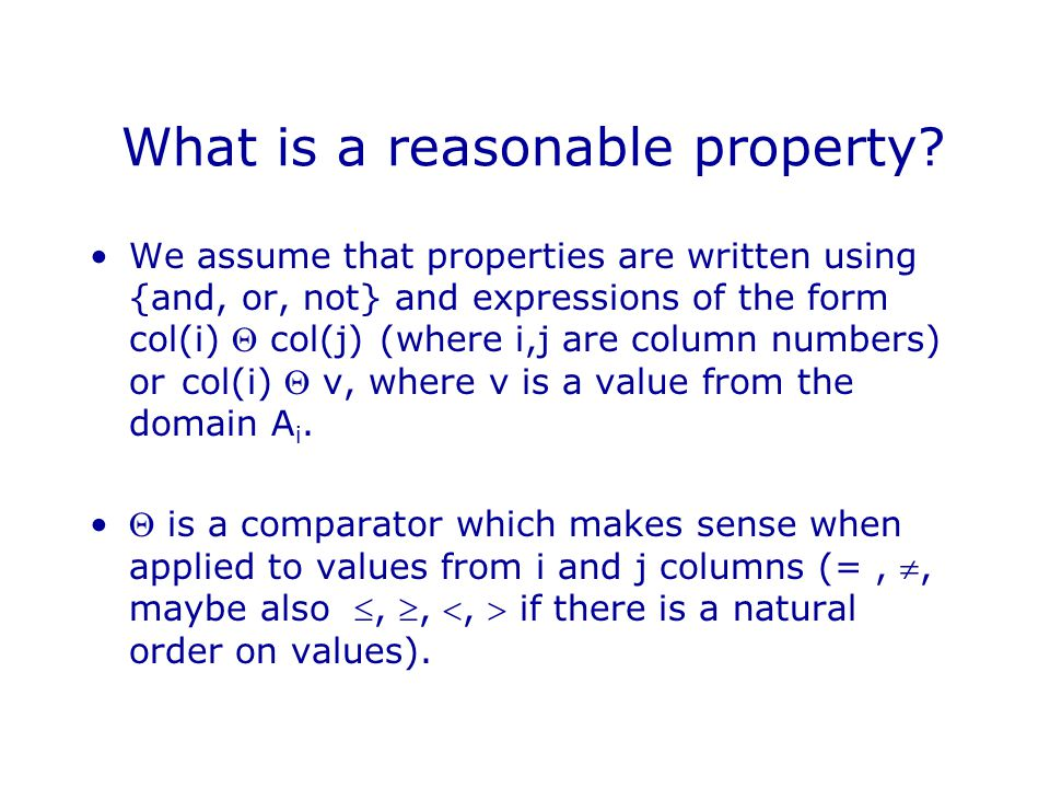 What is a reasonable property.