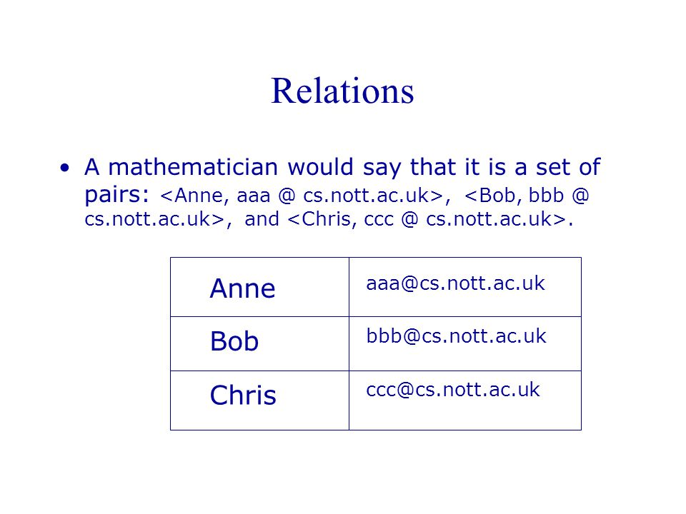 Relations A mathematician would say that it is a set of pairs:,, and.