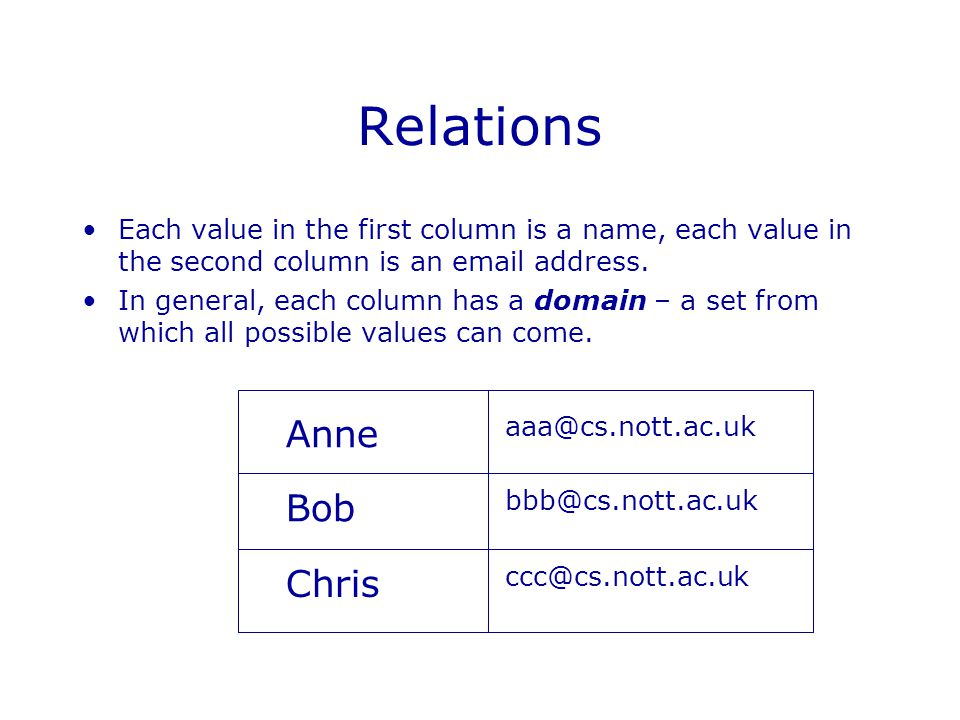 Relations Each value in the first column is a name, each value in the second column is an email address.