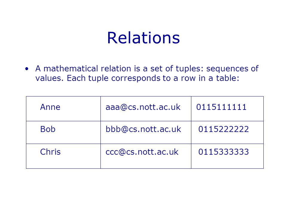 Relations A mathematical relation is a set of tuples: sequences of values.