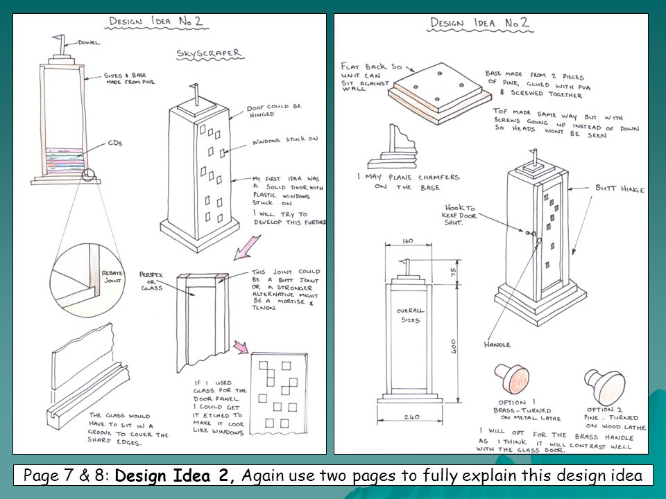 Page 7 & 8: Design Idea 2, Again use two pages to fully explain this design idea