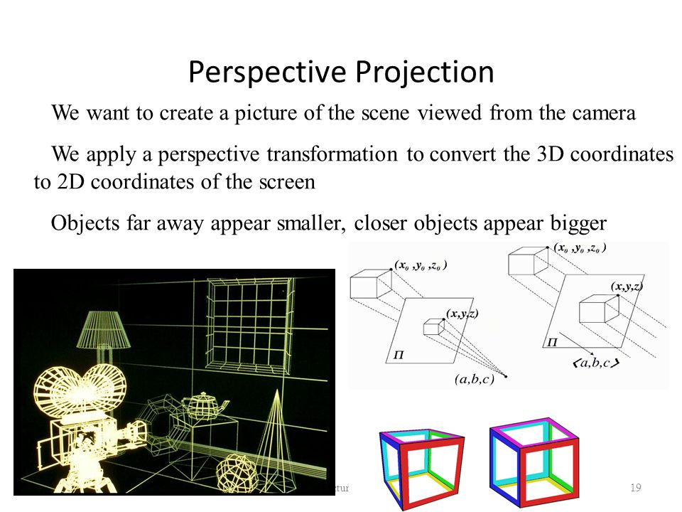 Perspective Projection 05/10/2014 Lecture 1 19 We want to create a picture of the scene viewed from the camera We apply a perspective transformation to convert the 3D coordinates to 2D coordinates of the screen Objects far away appear smaller, closer objects appear bigger