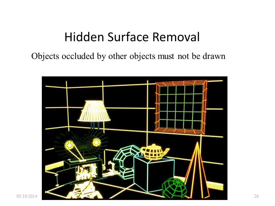 Hidden Surface Removal 05/10/2014 Lecture 1 20 Objects occluded by other objects must not be drawn