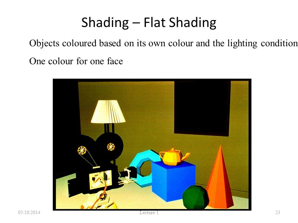 Shading – Flat Shading 05/10/2014 Lecture 1 23 Objects coloured based on its own colour and the lighting condition One colour for one face