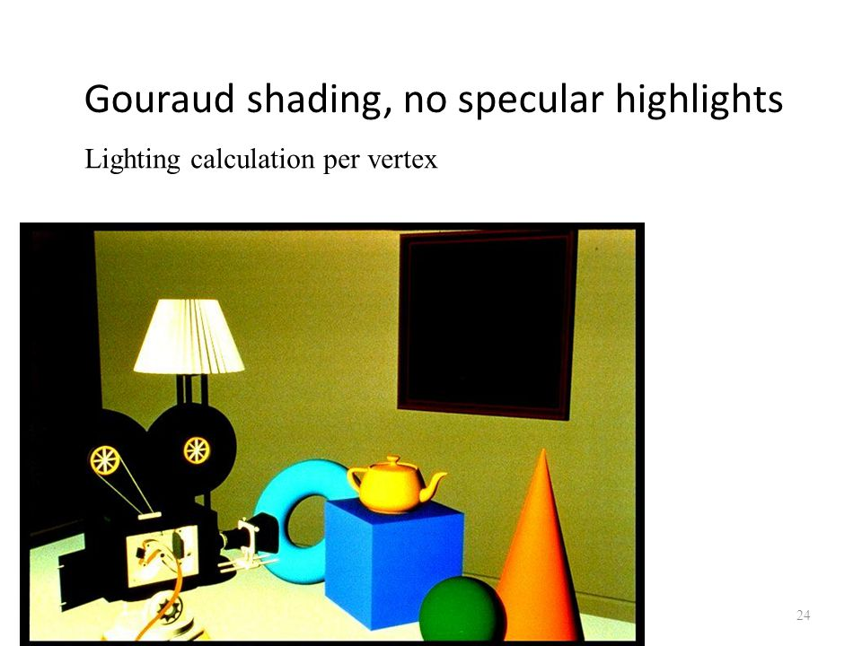 Gouraud shading, no specular highlights 05/10/2014 Lecture 1 24 Lighting calculation per vertex
