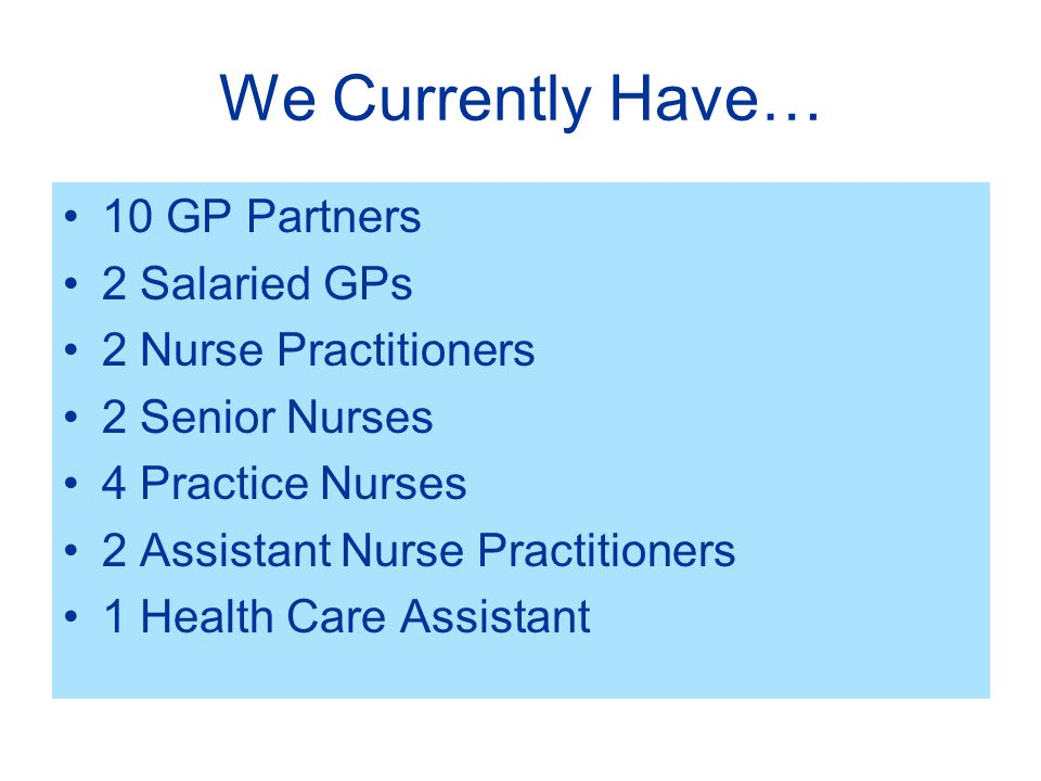 We Currently Have… 10 GP Partners 2 Salaried GPs 2 Nurse Practitioners 2 Senior Nurses 4 Practice Nurses 2 Assistant Nurse Practitioners 1 Health Care Assistant