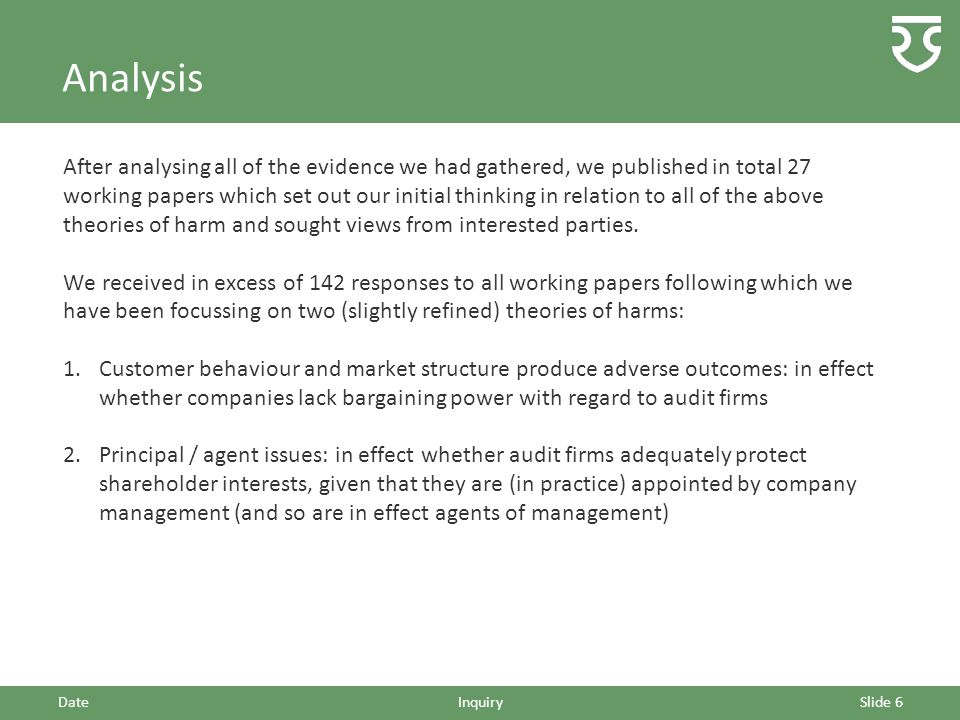 Analysis After analysing all of the evidence we had gathered, we published in total 27 working papers which set out our initial thinking in relation to all of the above theories of harm and sought views from interested parties.
