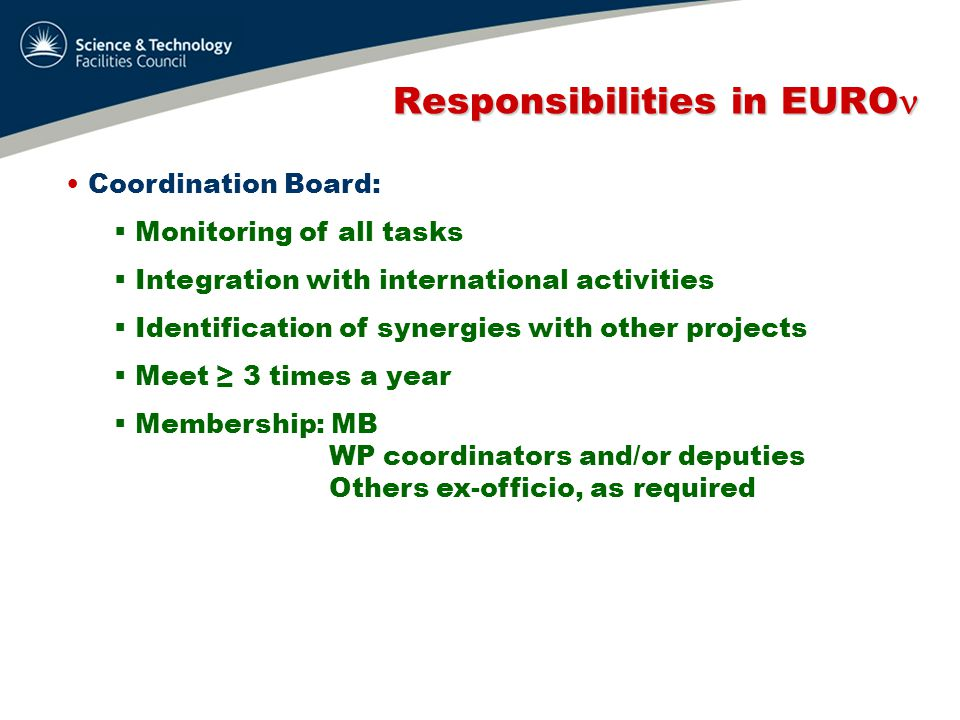 Responsibilities in EURO Responsibilities in EURO Coordination Board:  Monitoring of all tasks  Integration with international activities  Identification of synergies with other projects  Meet ≥ 3 times a year  Membership: MB WP coordinators and/or deputies Others ex-officio, as required